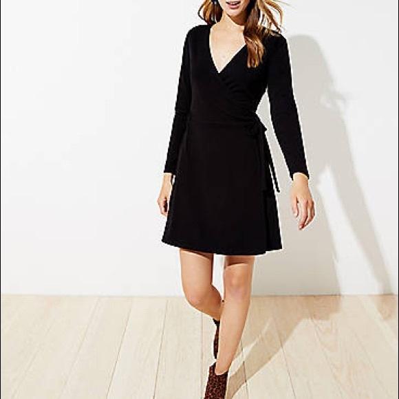 LOFT Dresses & Skirts - LOFT Long Sleeve Wrap Dress in Black NEW w/tags